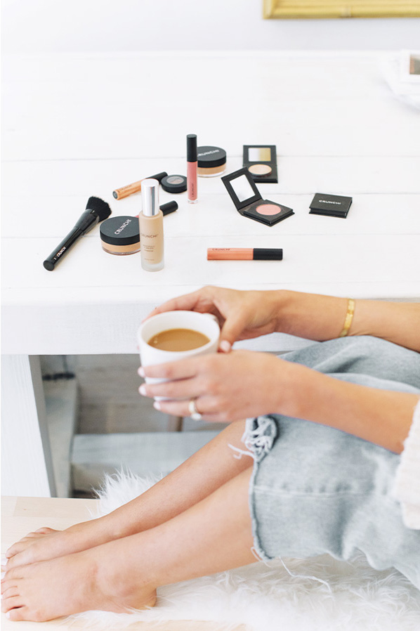 Makeup products on table