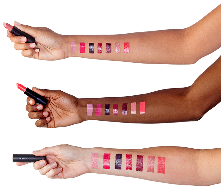 Lipstick swatches displayed on various skin-tones